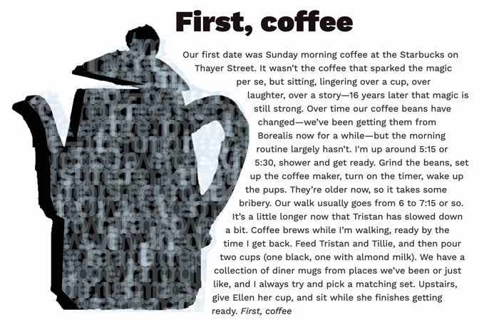 The final design with text wrapping around the coffee pot