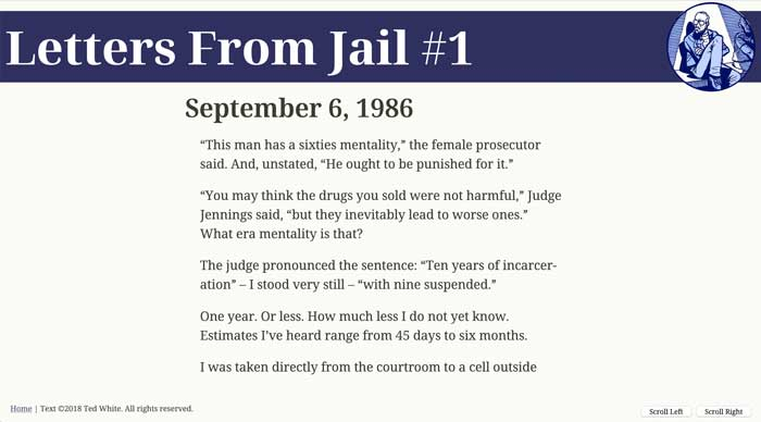 Chapter from Letters from Jail with scroll buttons in the lower right corner