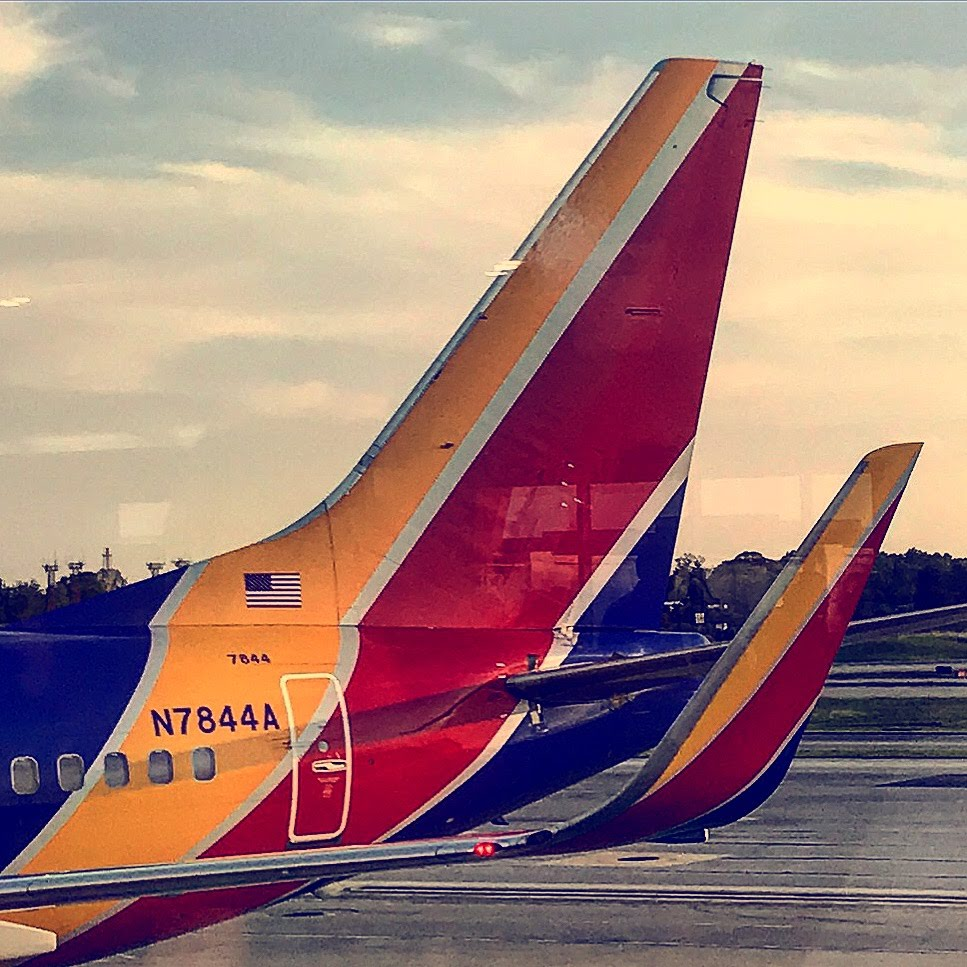 Photo of the tail of an airplane