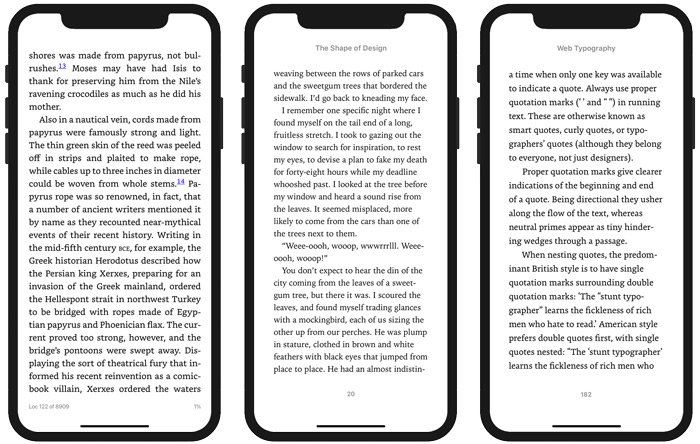 Pages from the ebook versions of The Book, The Shape of Design, and Web Typography
