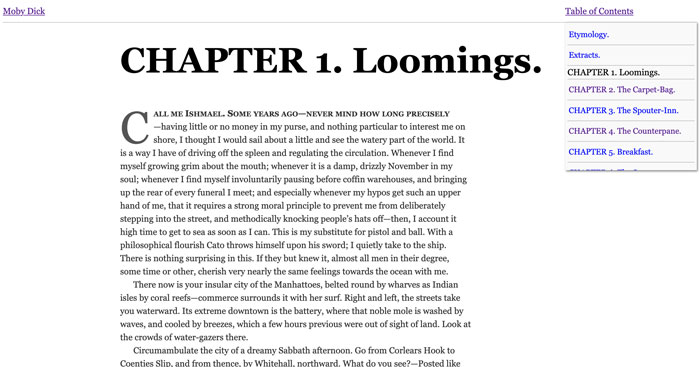 Chapter one of Moby Dick with minimal typesetting in a web page