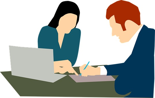 two people writing