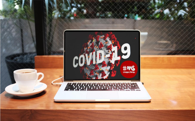 "Laptop, auf Screen CoronaVirus und Text ""COVID-19"", daneben Logo #MSConnections, Foto: Pixabay"