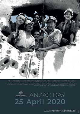 Image of Anzac Day 2020 poster showing crew members of the RAN light cruiser HMAS Sydney (II)