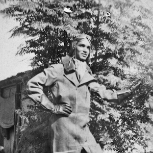 Portrait of Leonard Waters in his flight uniform