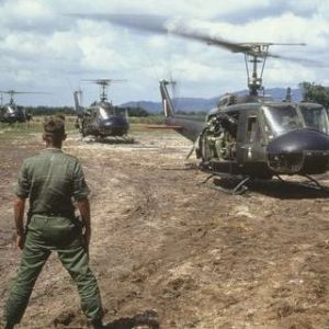 Military helicopters taking off in Vietnam