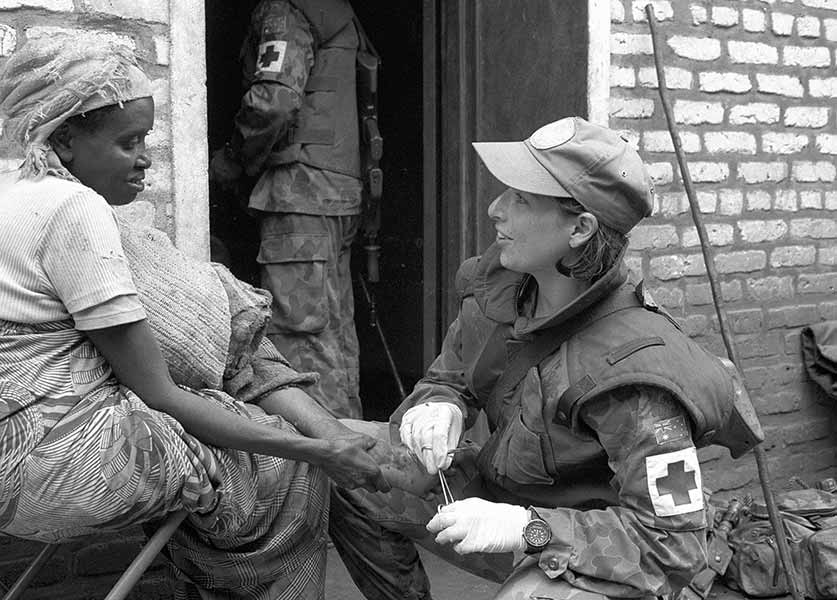 Captain Carol Vaughan-Evans during peacekeeping operations in Rwanda. Department of Defence image MSU95.078.06