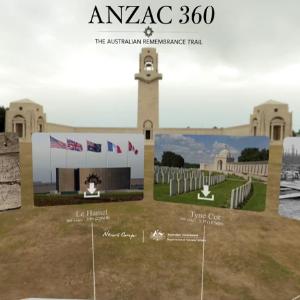 Cover of Anzac 360 app showing Australian National Memorial, Villers-Bretonneux, France