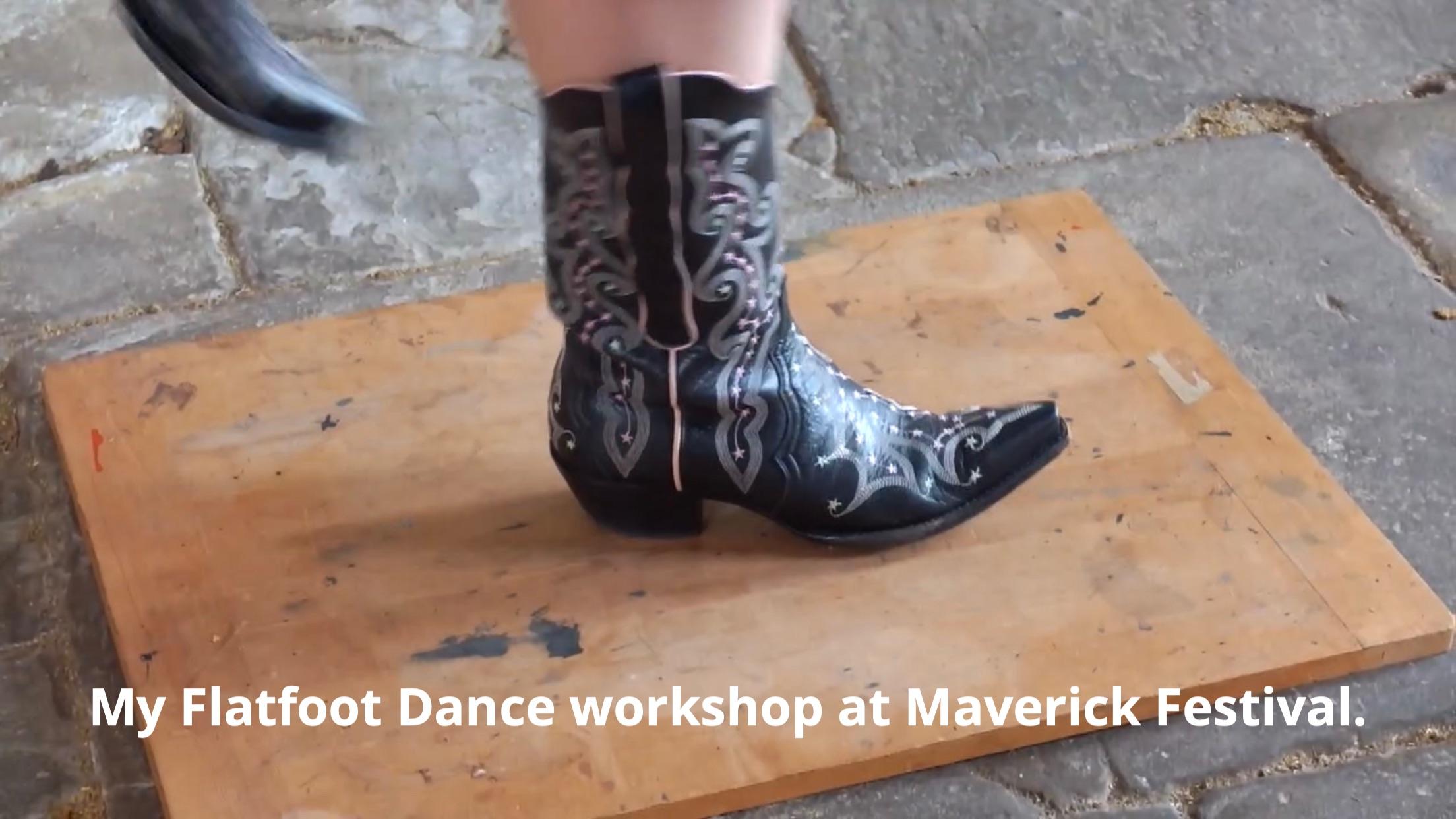 Jeni's feet in cowboy boots