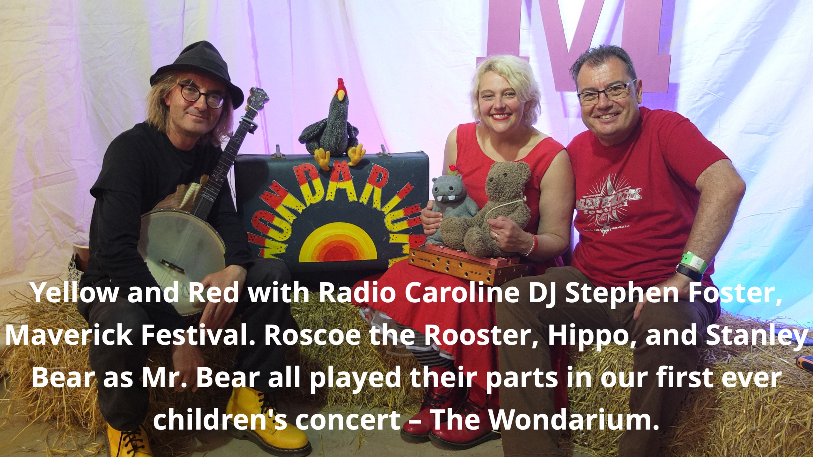 Jeni and Alfred with stuffed animals and DJ Stephen Foster.