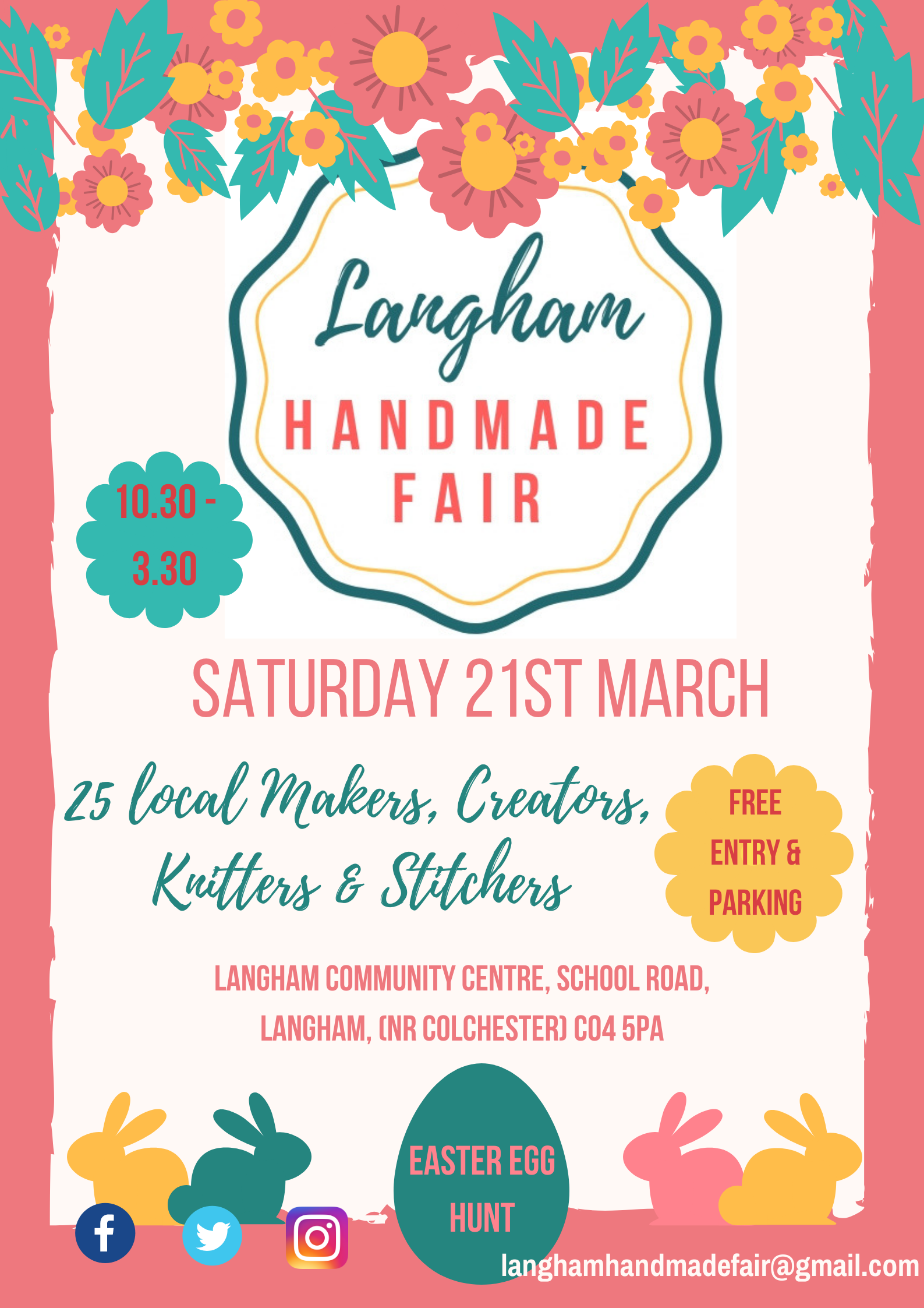 Langham Handmade Fair Saturday 21st March 10.30 - 3.30, Langham Community Centre