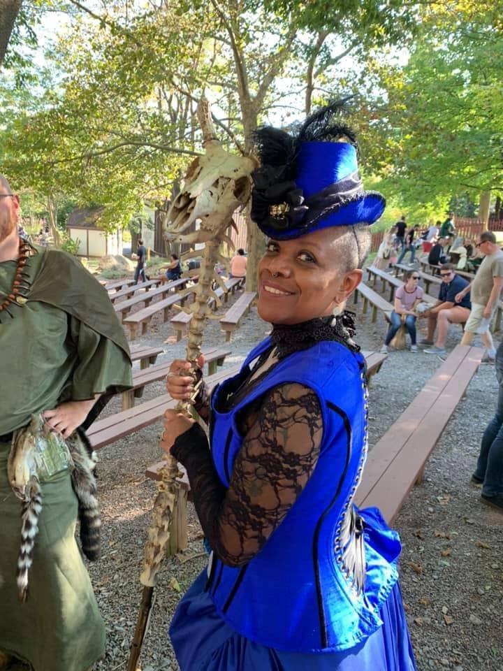 Woman in Steampunk dress