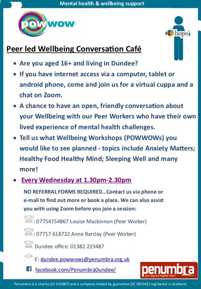 Peer led Wellbeing Conversation cafe