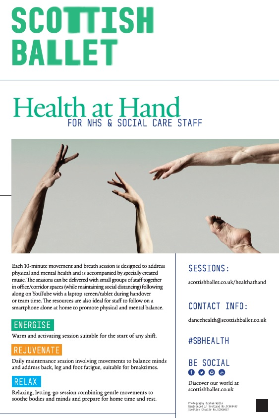 Scottish Ballet Health at Hand lesson to help mental and physical health.