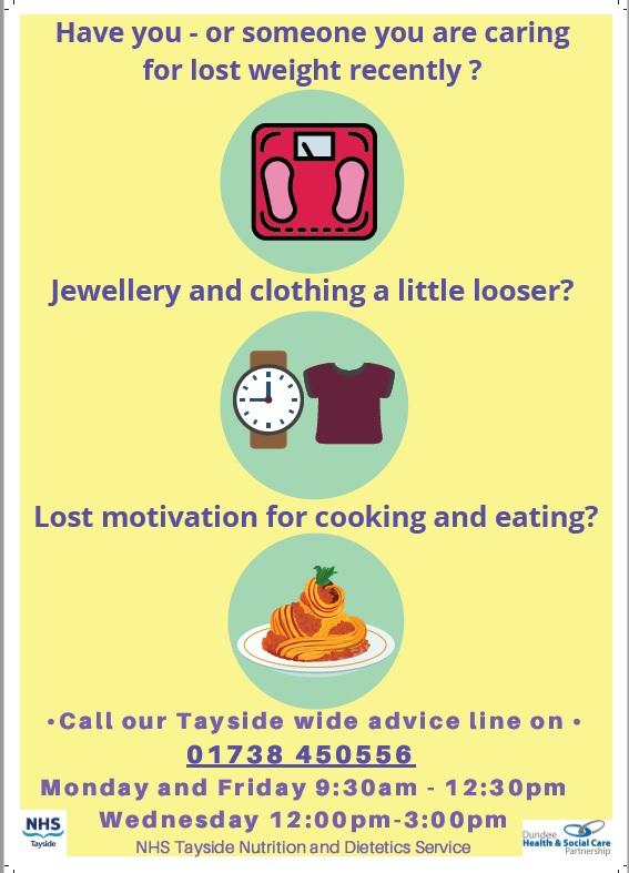 NHS Tayside Dietics and Nutrition helpline 01738 450556