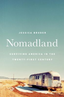 Book cover for Nomadland features a lone trailer alongside a deserted dirt road