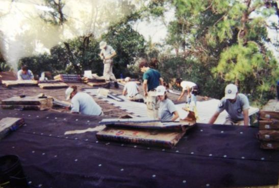 Gabriel's Americorps NCCC team working on a roof for a house with Habitat for Humanity, circa 2004