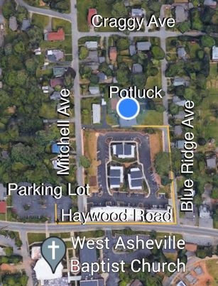 Map of house in relation to large parking lot on Haywood Road at West Asheville Baptist Church