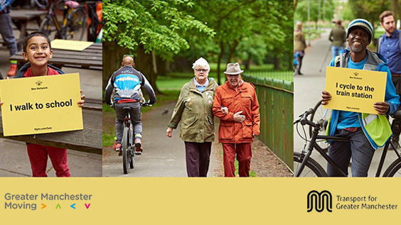 Photo of a young child smiling at the camera holding a poster which reads 'I walk to school'. Photo of an older couple walking along a path within a park. Photo of a person straddling a bike holding a sign which reads 'I cycle to the train station'.