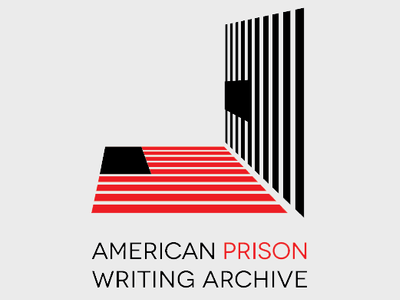Logo for The American Prison Writing Archive (The american flag reflected in a cell door)