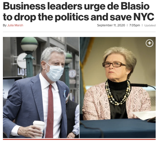 New york post story with the headline: Business leaders urge de Blasio to drop the politics and save NYC