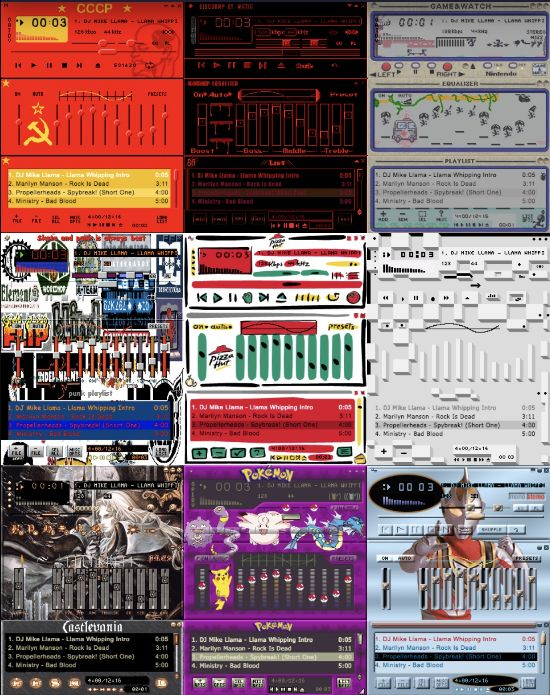 A collage of vintage skins for the 90s PC media player winamp