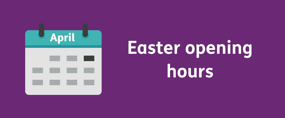 Text: Easter opening hours with a cartoon of a calendar with the text April on it