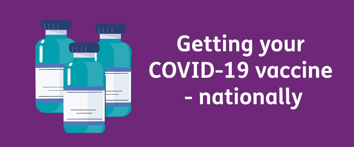 Getting your COVID-19 vaccine - nationally with a cartoon of vaccine vials