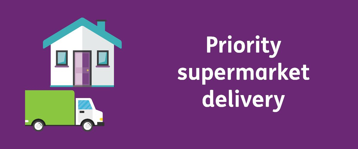 Text: Priority supermarket delivery with a cartoon of a delivery truck and house
