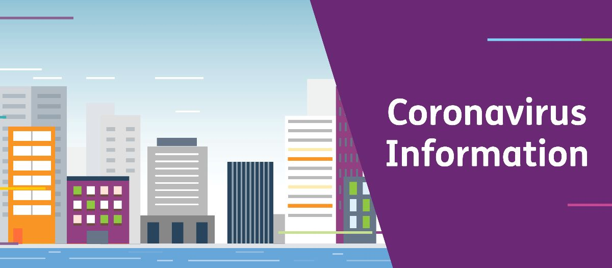 Graphic with a cartoon of a cityscape with lots of buildings and then on the right the text Coronavirus Information