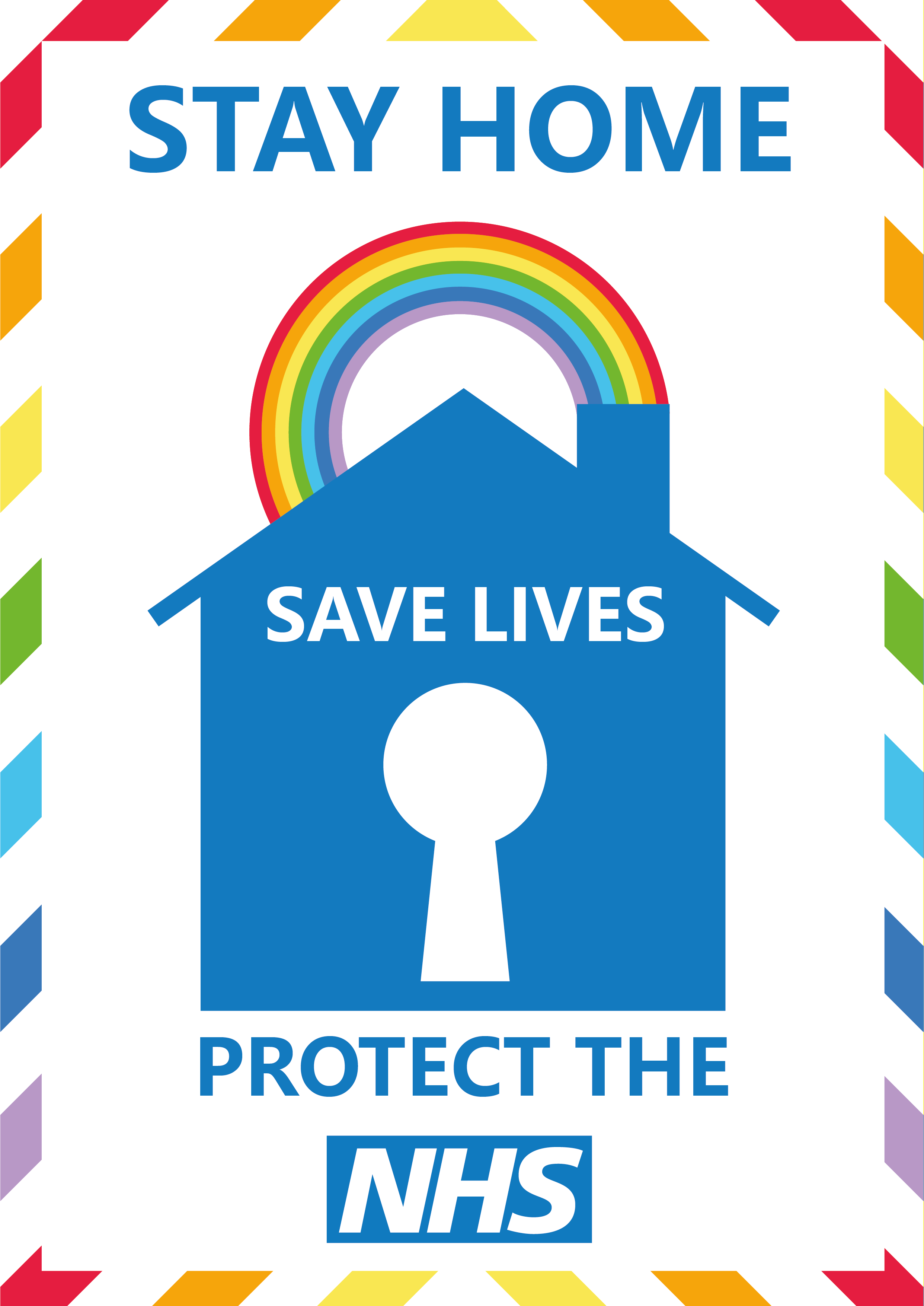 Stay Home Save Lives Protect the NHS poster with house in the centre
