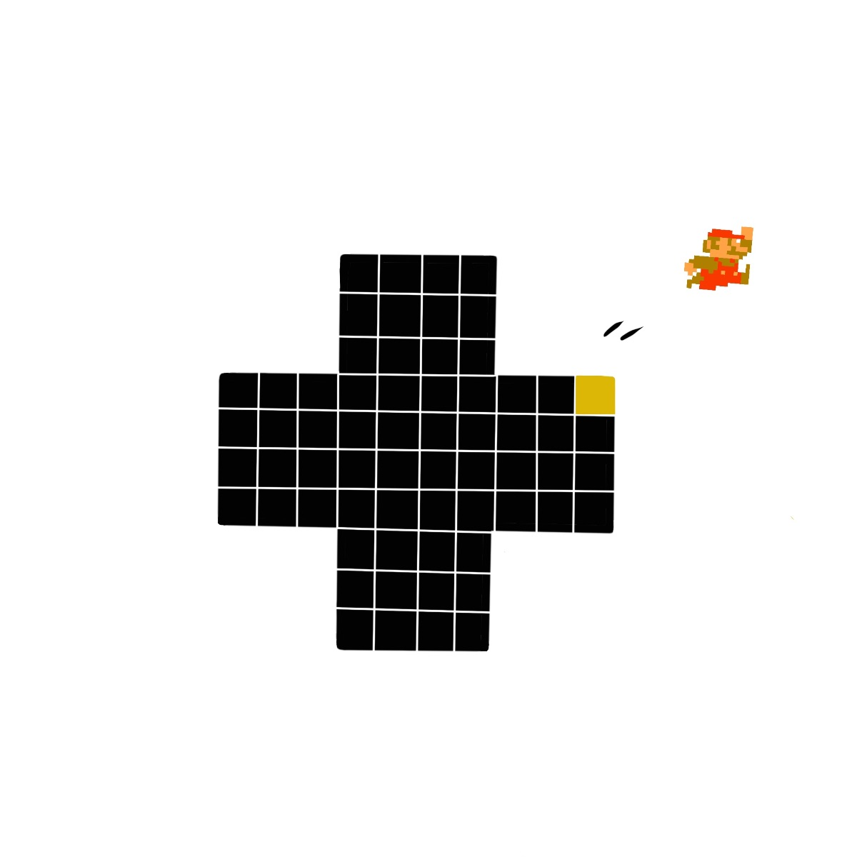 8-bit Mario jumping of a D-pad that looks like logo of 99% Invisible.