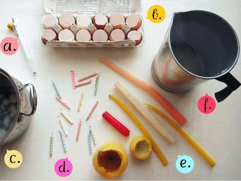 eggshell candles, handmade eggshel candless