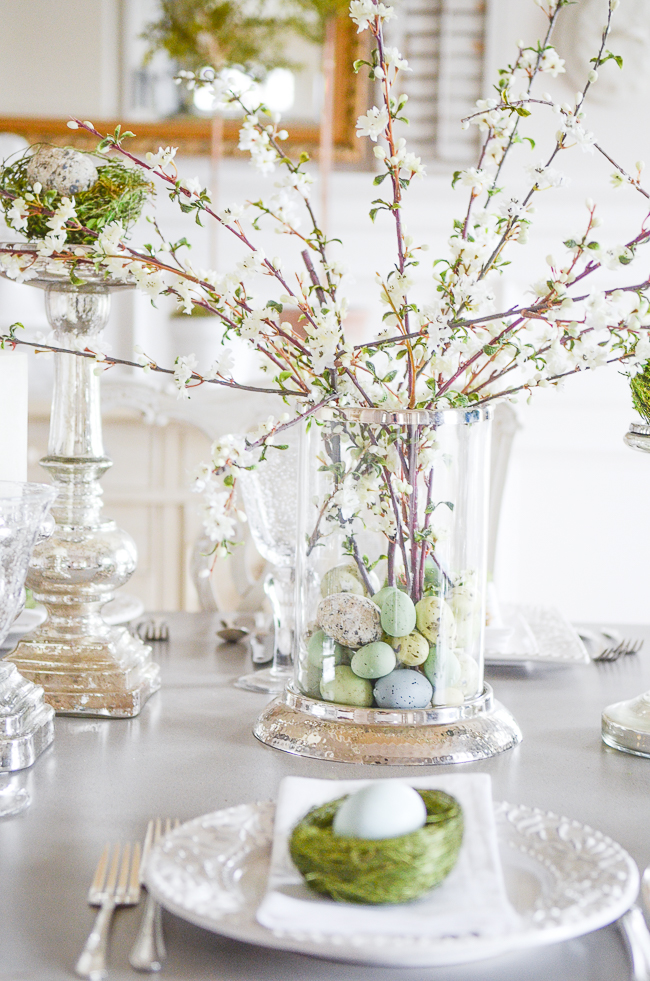 Easter decor, table set up, easter blossoms beautiful decor