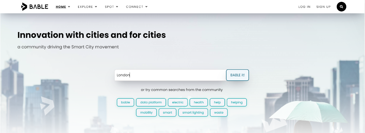 The BABLE home page with London written into the search bar.  Beside the search bar is a button - BABLE it!