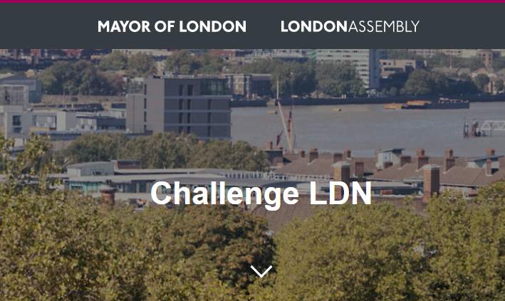 A photo of London - a banner on top reads 'Mayor of London' 'LondonAssembly' and the title on the photo reads 'Challenge LDN'
