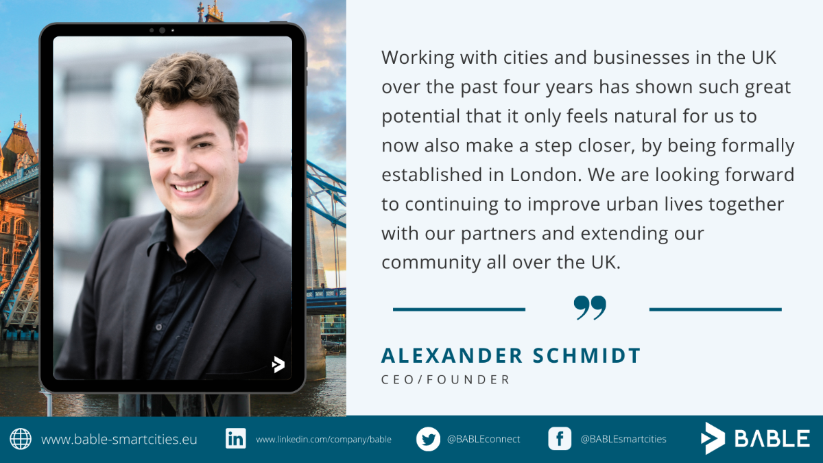 'Working with cities and businesses in the UK over the past 4 years has shown such great potential that it only feels natural for us to now also make a step closer, by being formally established in London. We are looking forward to continuing to improve urban lives together with our partners and extending our community all over the UK. '