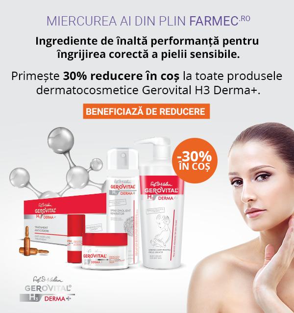 30% reducere la gama dermatocosmetică Gerovital H3 Derma+