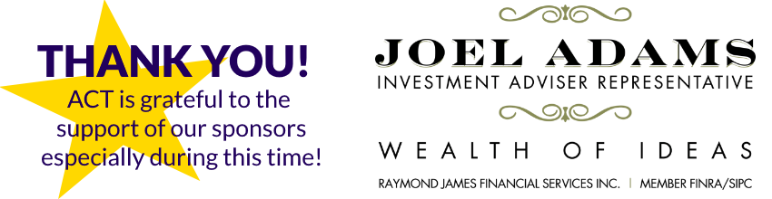 Thank you note recognizing sponsors next to logo for Joel Adams Investment Adviser Representative