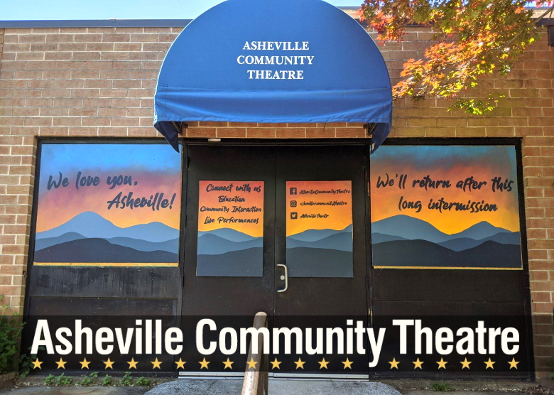 Photo showing Asheville Community Theatre's doors and windows covered with painted boards.