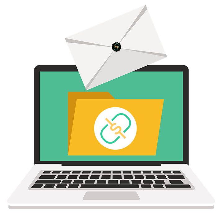 Cartoon graphic of an envelope falling into a file folder over a laptop