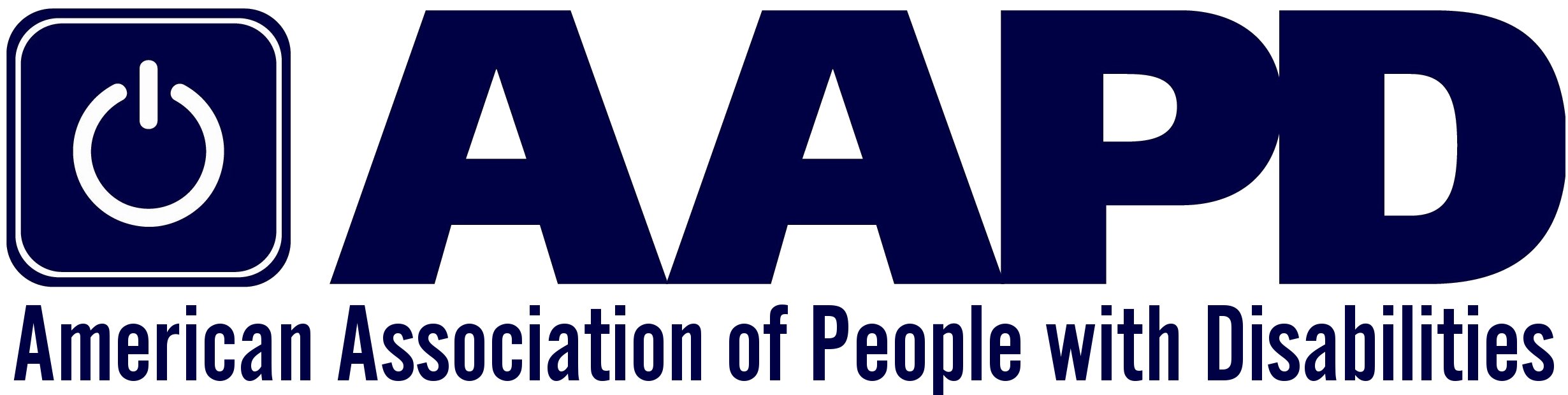 AAPD Logo. There is a power sign on the far left side with the letters AAPD beside it. Below are the words American Association of People with Disabilities.
