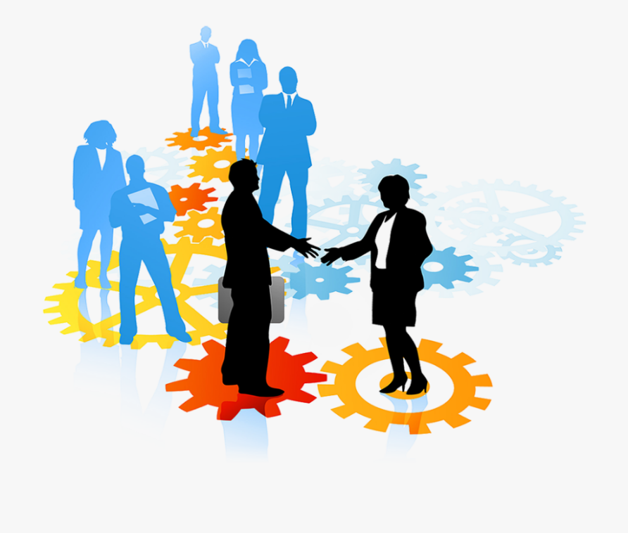 two Silhouettes shaking hands and other silhouettes standing behind waiting their turn, they are standing on colorful connecting gears .