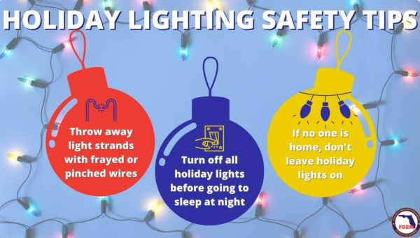 Holiday lighting safety tips. Throw away light strands with frayed or pinched wires. Turn off all holiday lights before going to sleep at night. If no one is home, don't leave holiday lights on.
