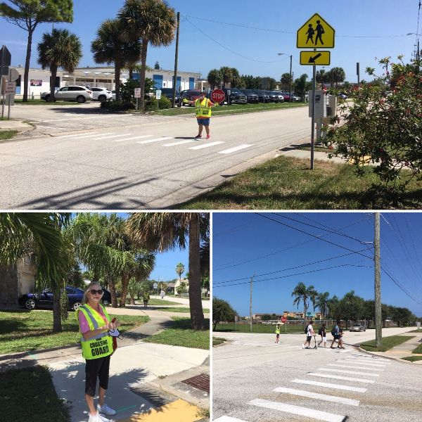 photos of crossing guards on the job, helping children cross the street