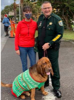 Sheriff Wayne Ivey and Junny with YDS PAL Director Mary Jane Binney at the 25th Annual Reindeer Run.