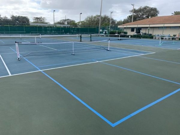 Freshly painted pickleball lines at the Nancy Hanson Recreation Complex