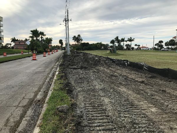 West Central Boulevard: Dirt moved in Preparation for pedway construction – looking west.