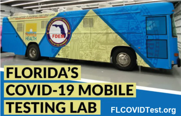 bus with Florida's covid-19 mobile testing lab. flcovidtest.org