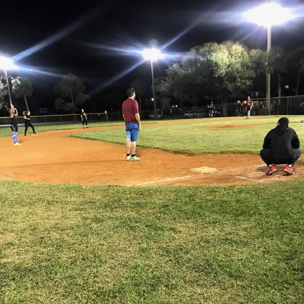 Players gather on Wednesday nights for a fun night of adult kickball at Canaveral City Park.